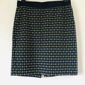 Ann Taylor Size 8 Blue Embroidered Pencil Skirt